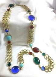 Vintage Long Blue, Turquoise, Ruby, And Green Gripoix Style Poured Glass Necklace
