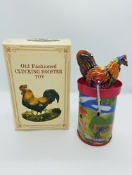 Old Fashioned Clucking Rooster Tin Litho Hand Crank Toy Noise Maker Htf Shackman