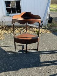 1790-1800 Antique Mahogany Corner Washstand Outstanding And Unusual