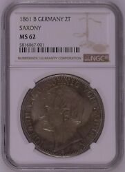 Ngc Ms62 Germany Saxony 1861 B Silver Coin 2 Taler