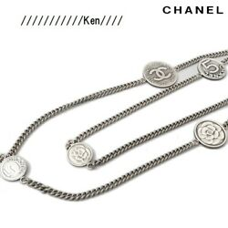 Necklace Chain Auth Coco Mark Logo Pendant Mademoiselle Coin Medal F/s