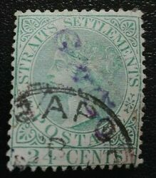 Straits Settlements 1867 -1872 Queen Victoria 24 C. Rare And Collectible Stamp.