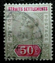 Straits Settlements 1892 -1899 Queen Victoria 50 C. Rare And Collectible Stamp.