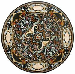 48 Marble Dining Table Top Inlay Rare Stones Round Center Coffee Table Ar0109