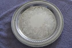 Wm Rogers 623 Eagle And Star Marks Silver Serving Tray Victorian Rose Vintage 12