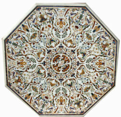48 Marble Dining Table Top Inlay Rare Stones Antique Center Coffee Table Ar0117