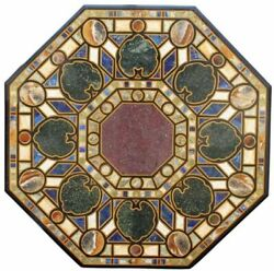 52 Marble Dining Table Top Inlay Rare Stones Antique Center Coffee Table Ar0128