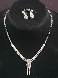 D. Lucio Zuni Set Necklace And Earrings Sterling Silver Coral Turquoise