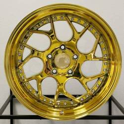 4-new 19 Aodhan Ds01 Ds1 Wheels 19x10.5 5x114.3 15 Gold Vacuum Rims 73.1