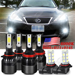 Para For Lexus Is250 Is350 2006 2009-2010 Faros Led +kit De Bombillas Antiniebla