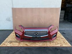 Infiniti Q50 2014-2017 Oem Front Bumper Cover With Pdc Sensors Red/ Complete