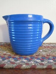Vintage Ring Ware Ribbed Cornflower Blue Cream Pitcher Farmhouse Mint Condition