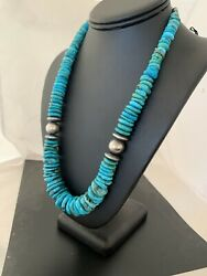 Necklace Navajo Native American Sterling Silver Graduated Blue Turquoise Bead631