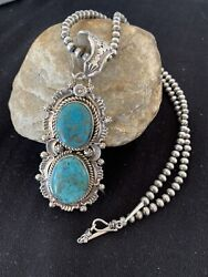 Xl Native Amer Sterling Silver Navajo Pearls Blue Turquoise Necklace Pendant 152
