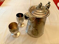 Antique Rogers Smith Silver Plate Covered Pitcher And 2 Goblets