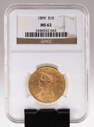 1899 10 Gold Liberty Head Eagle Graded By Ngc As Ms-62
