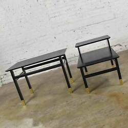 Pair Mcm Side Tables Black With Brass Sabots Style Of Harvey Probber