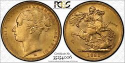 1883m St.george Reverse Sovereign Mcd165b S-3857c Ww Complete In Pcgs Ms62