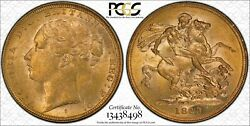1883s St.george Reverse Sovereign In Pcgs Ms62