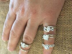 Lot Of 5 Sterling Silver Cz Wedding Engagement Style Rings 15g Size 6