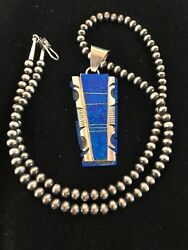Native Xl Navajo Pearls Bead Sterling Silver Necklace Blue Opal Pendant 8281