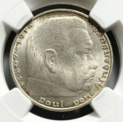 Rare Die Cracks 1939 D Germany Third Reich 2 Mark Silver Coin - Ngc Ms 64