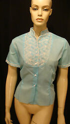 50s Vintage A Blouse Beauty Blue Secretary Pin Up Blouse W Embroidery L
