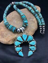 Native American Sterling Silver Blue Turquoise Necklace Naja Pendant Yazzie 1010