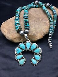 Native American Sterling Silver Blue Turquoise Necklace Naja Pendant Yazzie 1009