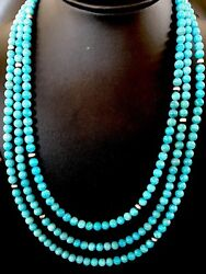 Native American Sterling Silver Blue Stabilized Turquoise Bead Necklace