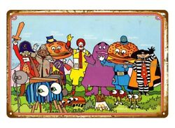 Mcdonalds Retro Happy Meal Characters Metal Tin Sign House Wall Art