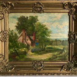 """Country Lane House Landscape Scenery Painting Rg Welsch Ny Listed 14"""" Vtg"""