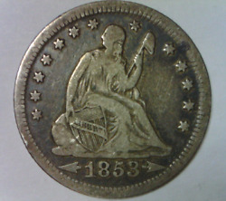 1853 O Seated Liberty Quarter Dollar Fine Quality New Orleans Us Type Coin