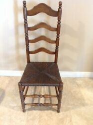 19th Century New England Shaker Style Ladderback Side Chair With Rush Seat
