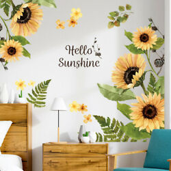 DIY Sunflower Wall Stickers PVC Decal Plants Art Mural Home Decor Self adhesives