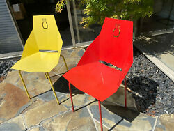 Vintage Set Of 2 Mid Century Patio Chairs Outdoor Metal Furniture Red Yellow