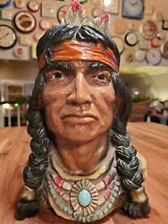 Vintage Bust Indian Chief Universal Statuary Corp Chicago 1966 320