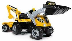 Smoby Kids Tractor And Trailer Yellow/black Ride On Digger Kids Toy Ages 3+