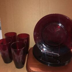 Four Beautiful France Classique Ruby Red Rimmed Salad Plates And Glasses