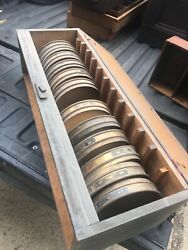 """Lot Of 11 Vintage Brass Us Standard Testing Sieves Catch Tray And Storage Cab 8.5"""""""