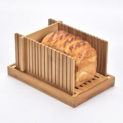 20xbamboo Bread Slicer For Homemade Bread Cutting Board With Crumble Holder