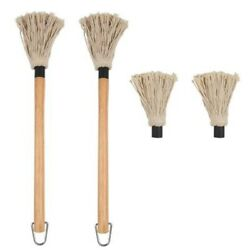 10x2 Pcs Bbq Basting Mop With Wood Handle Washable Cotton
