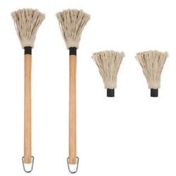 5x2 Pcs Bbq Basting Mop With Wood Handle Washable Cotton