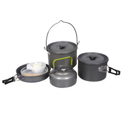 10xcamping Cookware Set Portable Outdoor Tableware Kettle Pot Cookset Cooking