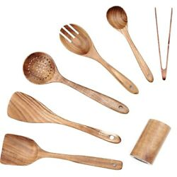 10xwooden Kitchen Utensil Set 7 Pc Wooden Spoons And Spatulas