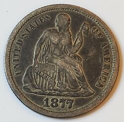 1877-cc Carson City Seated Liberty Silver Dime 10c In Xf Condition