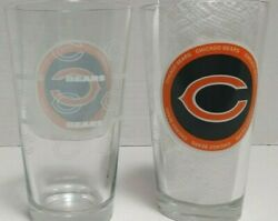 2 Nfl Chicago Bears Football Beer 16 Ounce Pint Drinking Glasses - 6