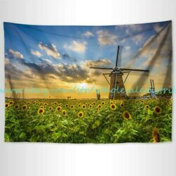 wall decor for living rooms sunflower windmill tapestry cloth poster