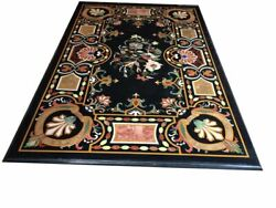 54 Marble Dining Table Top Inlay Rare Semi Antique Center Coffee Table Ar0247