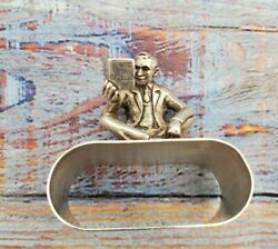 English Sterling Silver Napkin Ring Man Reading Book A Gift For Isabelle